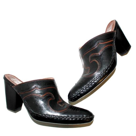 Frye Shoes - Frye Black Phoenix Embroidered Western Mule